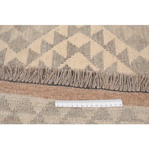 171x124 cm Handgemaakt Wollen Kelim Tapijt Neutrale Kleur Vloerkleed
