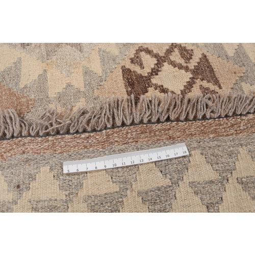 170x128 cm Handgemaakt Wollen Kelim Tapijt Neutrale Kleur Vloerkleed