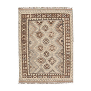 5'6x4'2 Handwoven Afghan Kilim Area Rug Neutral Color Wool Carpet