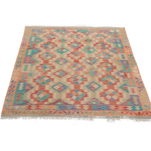 190x154 cm Handgemaakt Afghaans Kelim Kleed Oosters Tapijt