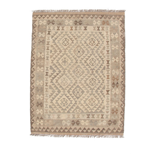 5'10x4'3 Handmade Afghan Kilim Rug Neutral Color Wool Carpet
