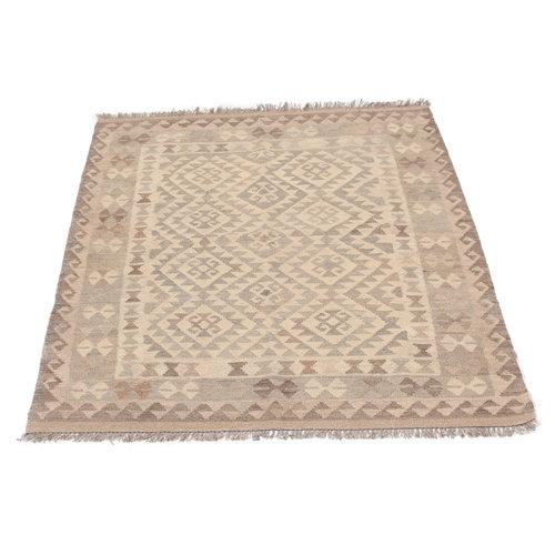 178x132 cm Handgewebt afghanisch Kelim Orientteppich Braun Wolle