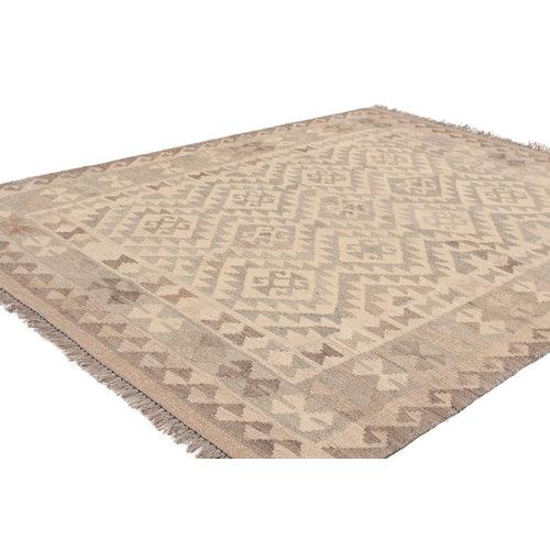 5'10x4'3 Handmade Afghan Kilim Rug Neutral Color Wool Carpet