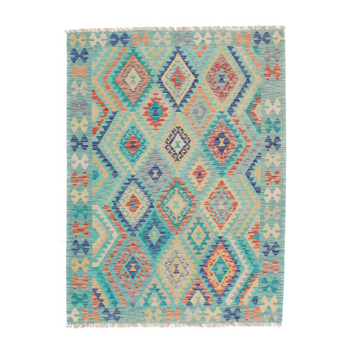 203x150 cm Handgemaakt Afghaans Kelim Kleed Oosters Tapijt