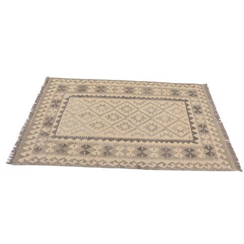 175x126 cm Handgewebt afghanisch Kelim Orientteppich Braun Wolle