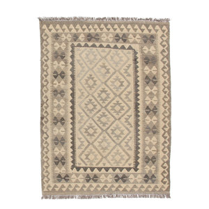 5'8x4'1 Handmade Afghan Kilim Rug Neutral Color Wool Carpet