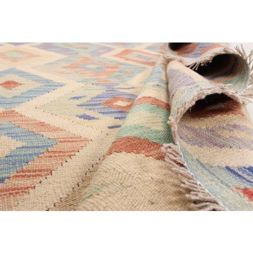 193x151 cm Handgemacht Wolle Kelim Orientteppich