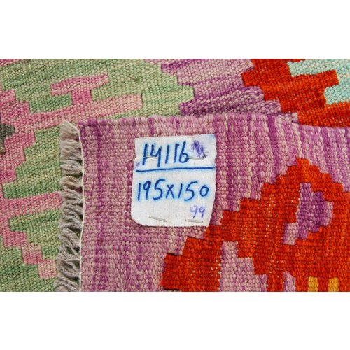 195x150 cm Handgeweven Kelim Tapijt Wol Vloerkleed