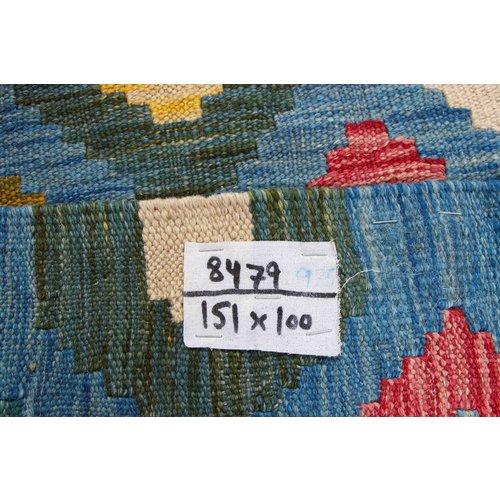151x100 cm Handgeweven Kelim Tapijt Wol Vloerkleed
