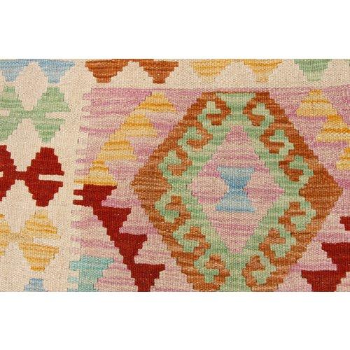 184x123 cm Handgeweven Kelim Tapijt Wol Vloerkleed