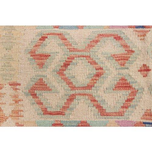 198x154 cm Handgeweven Kelim Tapijt Wol Vloerkleed