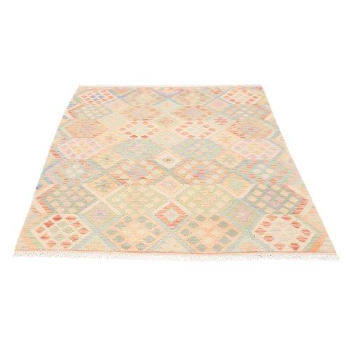 194x152 cm Handmade Afghan Kilim Rug Wool Carpet