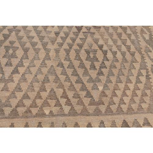 188x154 cm Handgemacht Braun Wolle Kelim Orientteppich