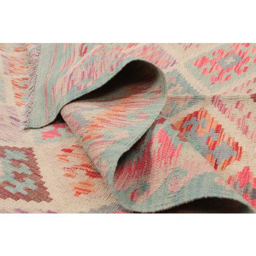 197x148 cm Handgemaakt Wol Kelim Kleed Oosters Tapijt
