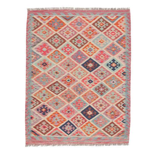 192x148 cm Handgemacht afghanisch Wolle Kelim Orientteppich