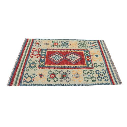 207x153 cm Handgemacht afghanisch Wolle Kelim Orientteppich