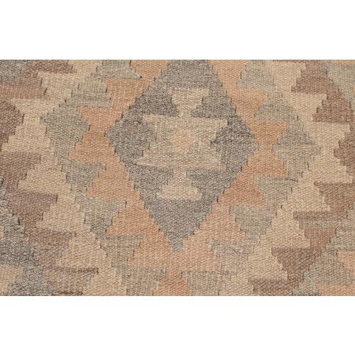 6'6x4'11 Handmade Afghan Kilim Rug Brown Wool Carpet
