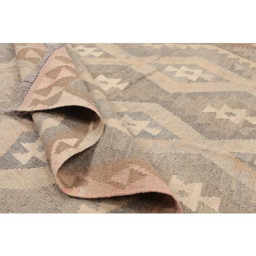 6'7x4'11 Handmade Afghan Kilim Rug Brown Wool Carpet