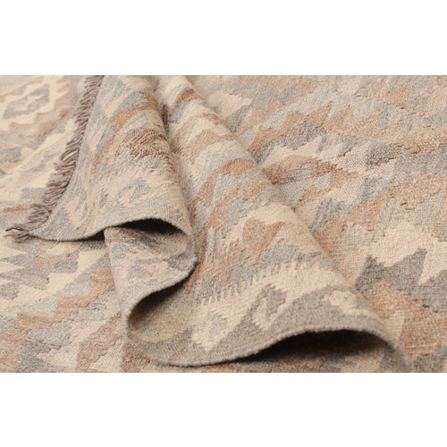 6'8x5'1 Handmade Afghan Kilim Rug Brown Wool Carpet