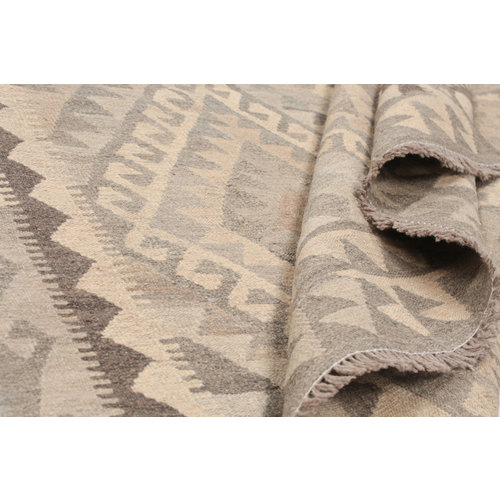 6'6x5' cm Handmade Afghan Kilim Rug Brown Wool Carpet