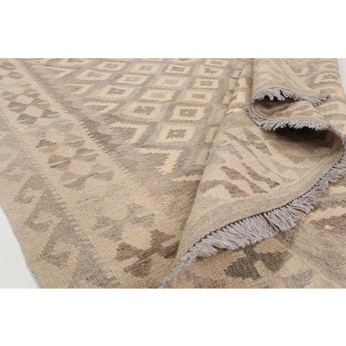 6'7x5'1 Handmade Afghan Kilim Rug Neutral Color Wool Carpet