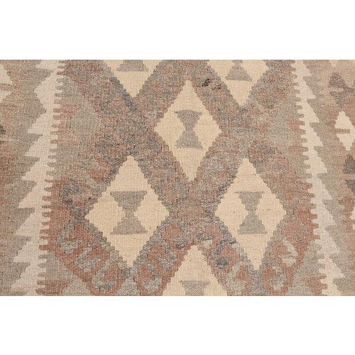 193x156 cm Handgewebt afghanisch Kelim Orientteppich Braun Wolle
