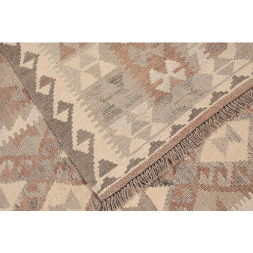 193x156 cm Handgemaakt Wollen Kelim Tapijt Neutrale Kleur Vloerkleed