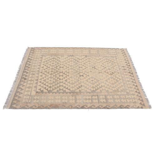 197x154 cm Handgewebt afghanisch Kelim Orientteppich Braun Wolle