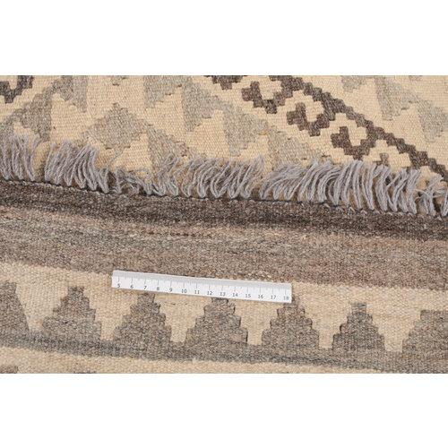 6'7x5'2 Handmade Afghan Kilim Rug Neutral Color Wool Carpet