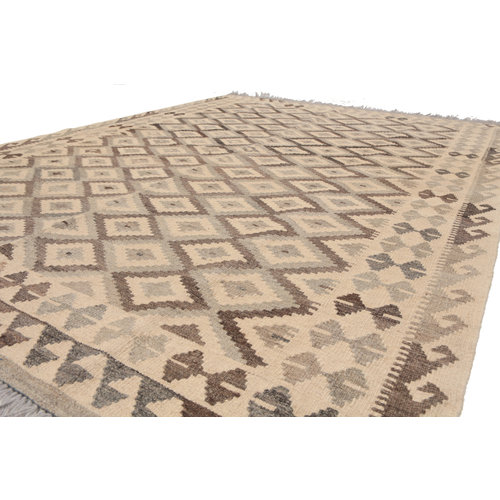 6'8x5' Handmade Afghan Kilim Rug Neutral Color Wool Carpet