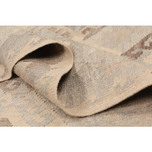 200x154 cm Handgeweven Kelim Tapijt Bruin Wol Vloerkleed