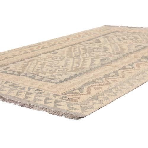 198x123 cm Handgeweven Kelim Tapijt Bruin Wol Vloerkleed
