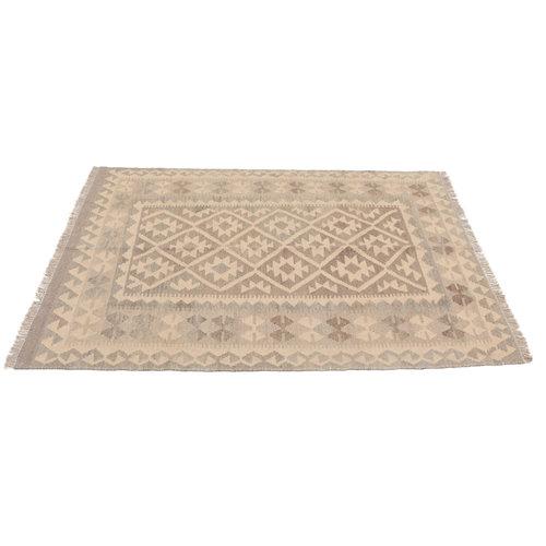 175x125 cm Handgemacht Braun Wolle Kelim Orientteppich