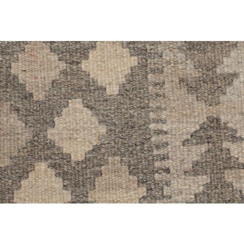 6'3'4 cm Handmade Afghan Kilim Rug Brown Wool Carpet