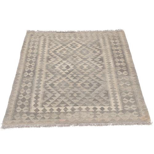 148x105 cm Handgemacht Braun Wolle Kelim Orientteppich
