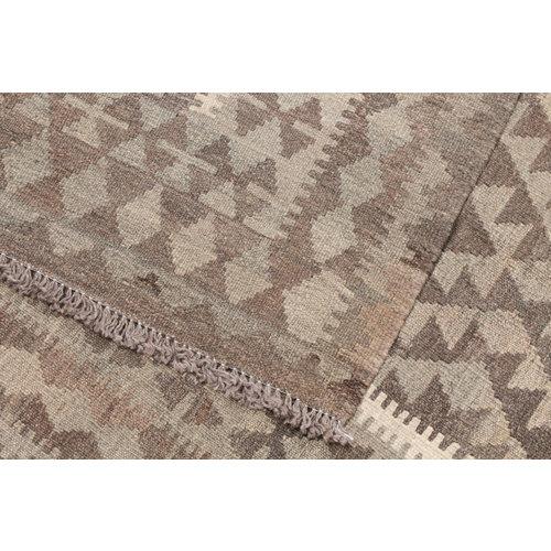 152x100 cm Handgeweven Kelim Tapijt Bruin Wol Vloerkleed