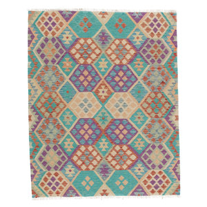 6'2x4'11 cm Handmade Afghan Kilim Rug Wool Carpet