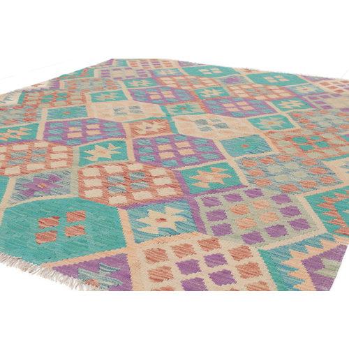 188x150 cm Handgemacht Wolle Kelim Teppich Orientteppich