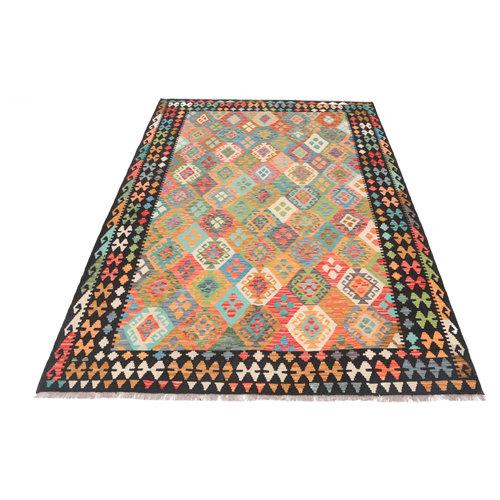 9'10x6'9 cm Handmade Afghan Kilim Rug Wool Carpet