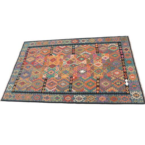 9'10x6'11 cm Handmade Afghan Kilim Rug Wool Carpet