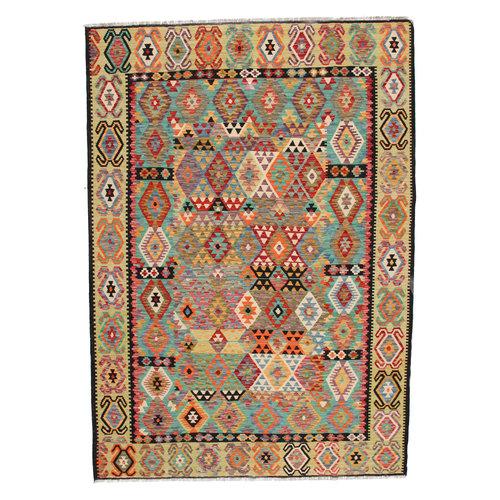 302x211 cm Handgemacht Wolle Kelim Teppich Orientteppich