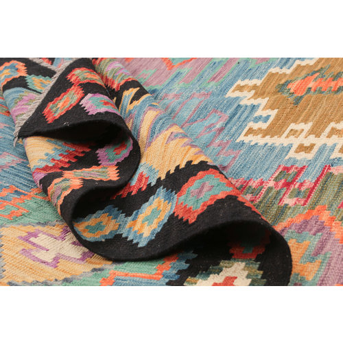 307x206 cm Handgeweven Kelim Tapijt Wol Vloerkleed