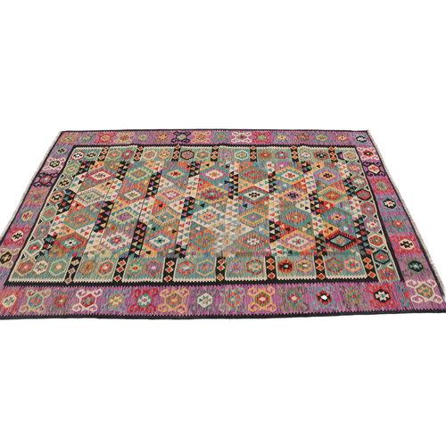 9'11x6'9 cm Handmade Afghan Kilim Rug Wool Carpet