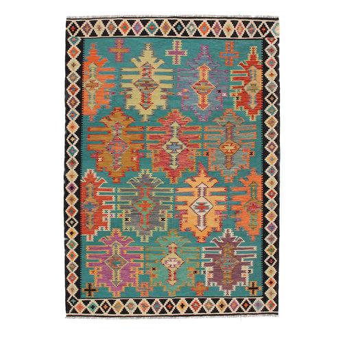 9'7x6'7 cm Handmade Afghan Kilim Rug Wool Carpet