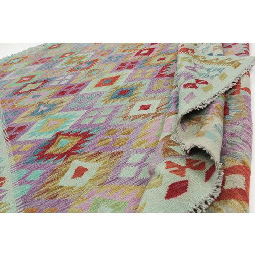 295x200 cm Handgeweven Kelim Tapijt Wol Vloerkleed