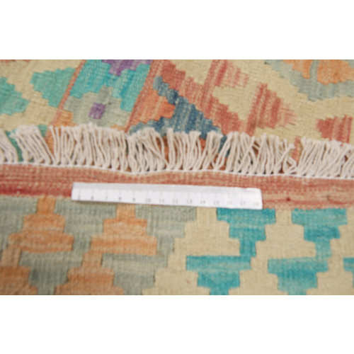 295x202 cm Handgeweven Kelim Tapijt Wol Vloerkleed