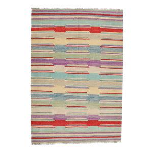 9'9x6'10 cm Handmade Afghan Kilim Rug Wool Carpet