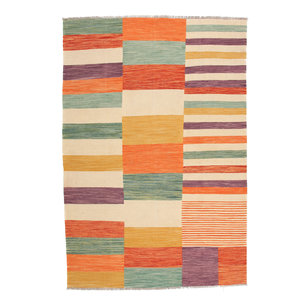 9'10x6'7 cm Handmade Modern Striped Kilim Area Rug Wool Carpet