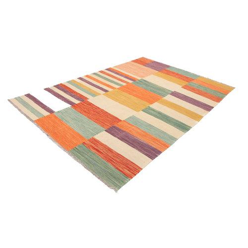 302x203 cm Handgemacht Modern gestreift Wolle Kelim Teppich