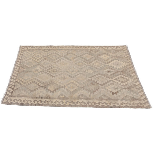 197x143 cm Handgewebt afghanisch Kelim Orientteppich Braun Wolle